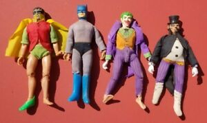 Vintage 1970s MEGO Action Figure Lot 4 Batman Penguin Joker Robin Dolls As Is