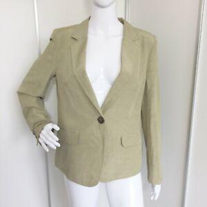 Vintage 1980s Escada for Harrods Beige Linen & Silk Jacket Blazer Size 12 M