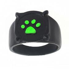 1Pc Chat noir Cartoon Green empreinte Black Cat Metal Bague pour cosplay 22mm