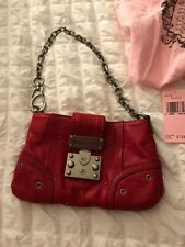 Juicy Couture Red Leather Studded Clutch Handbag With Gunmetal Chain $198