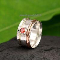 Garnet Solid 925 Sterling Silver Spinner Ring Meditation Ring statement Ring 123