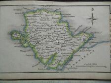Small Georgian Map of Anglesea (c1820) Hand Coloured, North Wales, Gwyedd