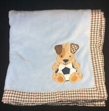 Lambs & Ivy Blue Puppy Dog Soccer Baby Blanket Houndstooth Plush