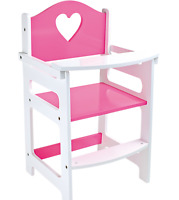 Doll's Wooden Pink High Chair Doll's Furniture Pretend Play Girls Kids