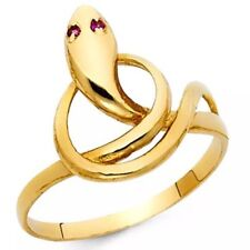 GOLD snake ring 14k Manmade Ruby 8.5 5 6 7 8 9 10 11