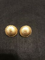 Trifari Vintage Earrings Clip On Gold Tone Button Texture Earrings