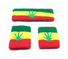 Rasta Weed Leaf Sweatband Wristband Reggae Selassie Africa Rastafari Bob Marley