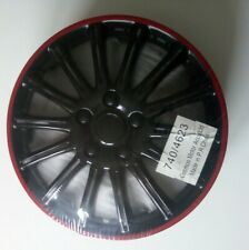 """14"""" Black & Red Plastic Wheel Trims"""