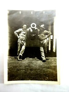 WWI Two Doughboys in Front 8-inch Mark VI Howitzer B&W Snapshot Photo