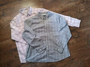 Two Gorgeous Check Shirts, Pink & Grey By George size 2XL