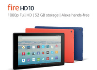 "NEW Amazon Fire HD 10 Tablet 10.1"" Display 32GB (7th Gen) 2017 - BLACK BLUE RED"