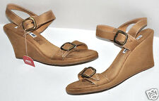 American Eagle Light Brown Faux Suede Buckled Open Toe Wedge Heels Sz.9.5 NWT