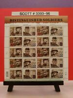 Scott # 3393-96 - Distinguished Soldiers - Sheet of (20) 33 Cent Stamps