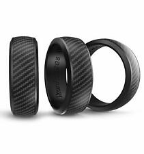 Ikonfittness 3 Black Color Silicone Rubber Wedding Ring for Men Women +Metal Box