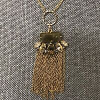 Alexis Bittar Neutral Gray Bronze Crystal Gold Chain Necklace Signed