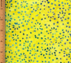 Wilmington Batik 100% Cotton Fabric Fat Quarter FQ Yellow Blue #FA62