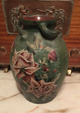 More details for arts and crafts brannam barum three handled vase - hand painted terracotta vase
