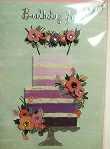 Papyrus Happy Birthday Card - Birthday Joy! Elaborate Flowered Layer Cake + Gems