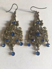 *NEW* VINTAGE LOOKING GOLD AND BLUE CHANDELIER EARRINGS *FREE UK POSTAGE*