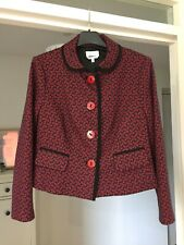 NWOT Anna Thomas designer wool jacket size 16 blue and red retro pattern fitted