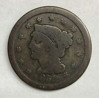 1852 Braided Hair Large Cent 1¢ Average Circulated