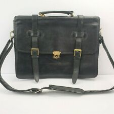 Vintage Leather Briefcase Satchel Messenger Shoulder Bag Black Leather Laptop