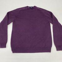 Lands' End Knit Sweater Men's Women's Medium Long Sleeve Purple Crew Neck Cotton