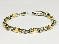 "14k Solid Gold Handmade Link Men's chain/Bracelet 7.5"" 24 grams 6 MM"