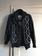 Trademark Dark Blue Navy & Yellow Shawl Collar Bobble Cardigan Sweater, Sm, NWT