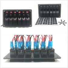 12V/24V 3Pin 6 Gang Car Boat Rocker Switch Panel Circuit Breaker Charger Red LED