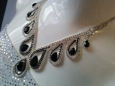 Teardrop Elegant Clear Black Crystal Necklace Earrings Set Formal Wedding Prom