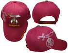 Shriner Emblem Burgundy With Shadow Embroidered Cap Hat Masonic