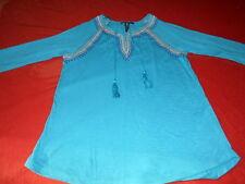 Women's Style & Co Aqua Long Sleeve Boho Tunic Top Size PM w embroidery/tassles