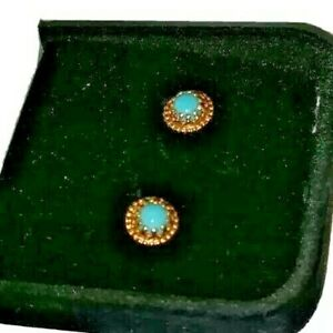 Ear Rings Turquoise 14Kt Yellow Gold 1.7 G Post Back Stud Pierced Round Vintage