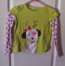 Jumping Beans Lime Green Girls L/S Holiday Tee / Dog with Candy Cane- Size 7