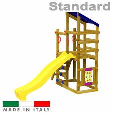 Scivolo per bambini Torre Luna Doppia + Arrampicata + Tris Parco Giochi Giardino