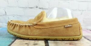 LL BEAN Men's Brown Wicked Good Shearling Lined Moccasin Slippers Size 7 M