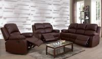 NEW Black or Brown 3PC Recliner Sofa Set - 5 Seats Recline! - Comfortable Living