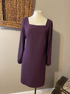 Ann Taylor Grape Dark Purple Long Sleeve Dress 10 Washable