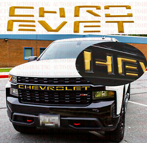 Fit 2019-2020 Silverado1500 Yellow Front Grill Insert Letters Emblem