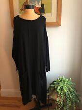 Raquel Allegra Black Oversized Crepe Dress