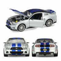 1:24 2014 Ford Mustang Street Racer Diecast Model Car Collection Display Silver