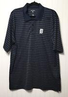 ANTIGUA Mens XL Detroit Tigers Golf Polo Shirt Striped Blue White S/Sleeve