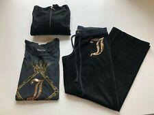 Juicy Couture Women's 3 Piece Set XL Shirt XL Jacket Medium Pants Black Lounge