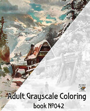 Adult Coloring Book (24 pages) Winter Country Lanscapes FLONZ grayscale 042