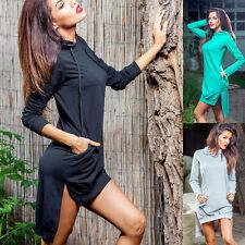 Cotton Blend Hooded Long Sleeve Dresses for Women