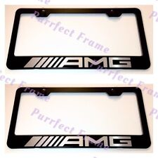 2X Mercedes AMG LASER Style Stainless Steel License Plate Frame Rust Free W/Cap