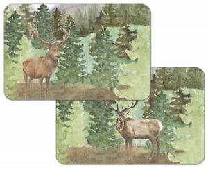 4  Vinyl Plastic Reversible Cabin Wildlife Placemats Wilderness Retreat