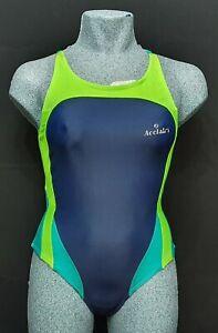 ACCLAIM Rio Ladies Swimming Costume Navy Blue Lime Green Nylon Lycra UK 12
