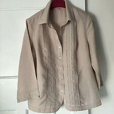 Peter Hahn Sze 16 Beige Pintuck Front Shirt Linen Cotton Mother of Pearl Buttons